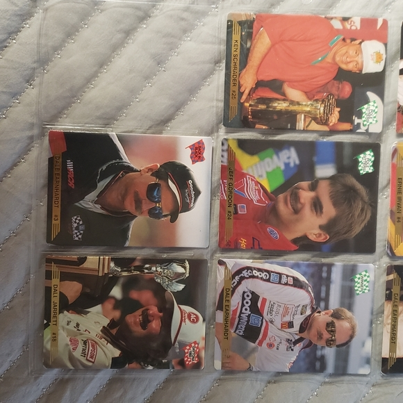 Collectable Nascar cards in protective plastic